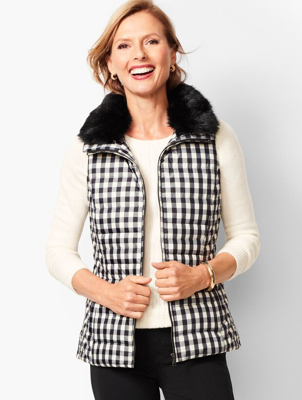 Down Fur-Collar Puffer Vest - Buffalo Plaid