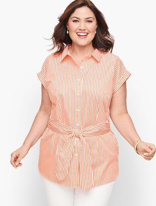 Tie Waist Button Front Stripe Shirt