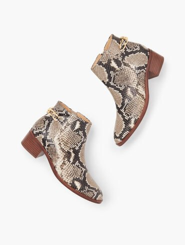 Via Chainlink Detail Ankle Boots - Embossed Leather