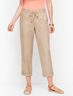 Summer Twill Slim Leg Crop Pants