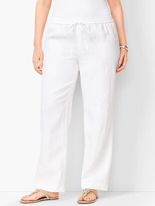 Washed Linen Wide-Leg Pants