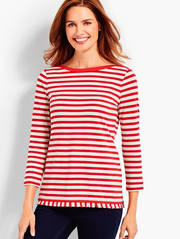 Fringed Pima Cotton Tee - Stripe