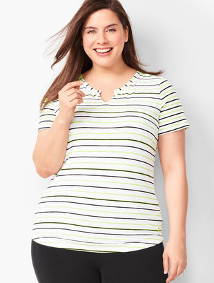 Split-Neck Stripe Tee