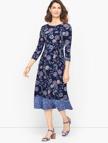 Twist Jersey Midi Dress - Dashing Foulard