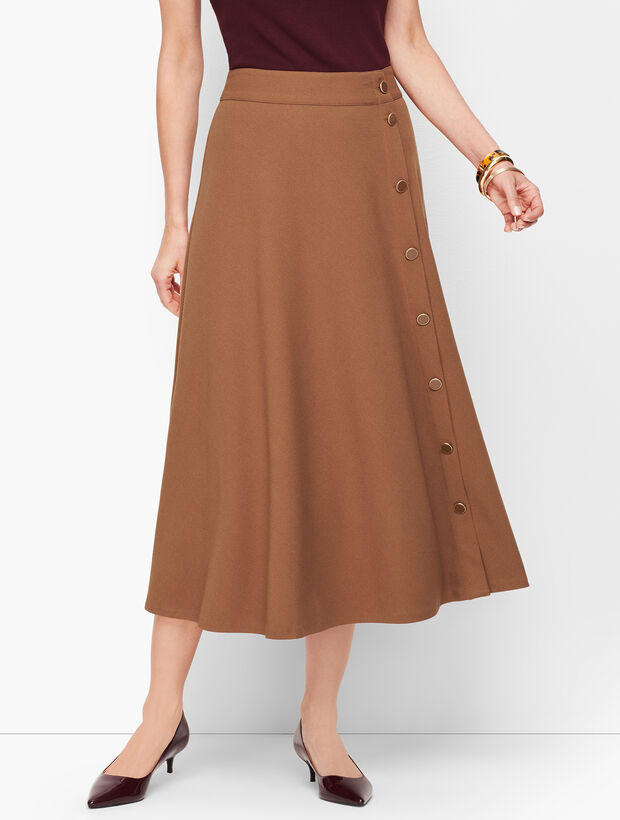 Stretch Crepe Midi Skirt