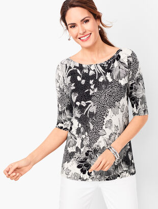 Dolman-Sleeve Bateau-Neck Sweater - Floral