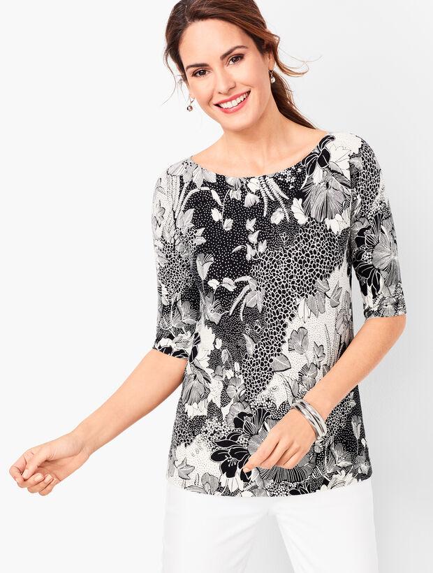 Dolman-Sleeve Bateau-Neck Sweater - Floral