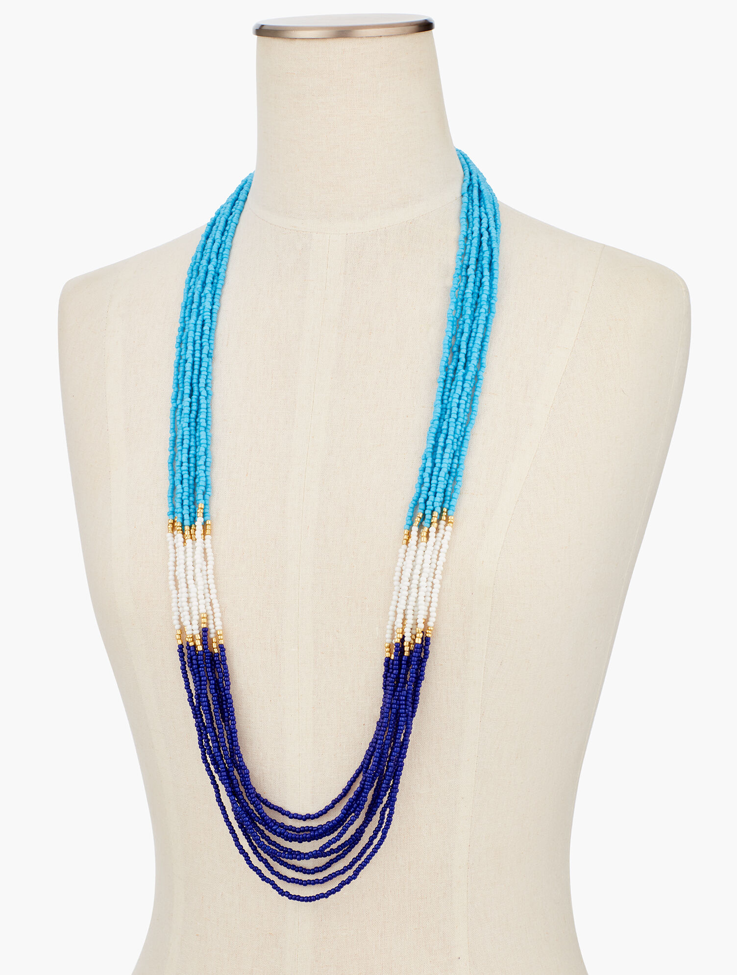 Tan Brown Clear Beaded Long Necklace. Talbots Multi-Strain Yellow