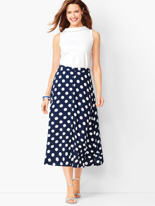 Dotty Print Midi Skirt