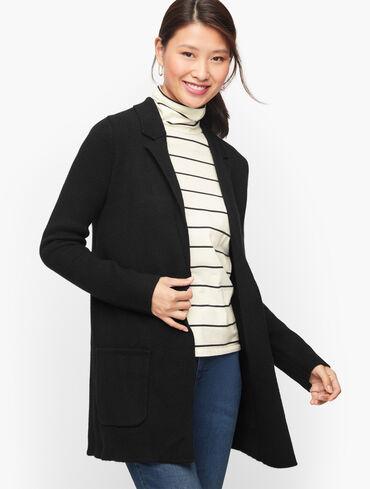 Notch Collar Sweater Jacket