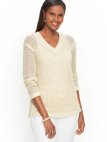 Open Weave V-Neck Sweater - Space Dyed