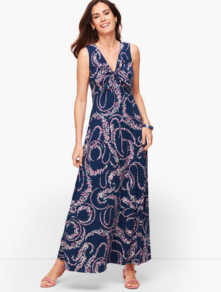 Tie Front Maxi Dress - Floral Swirl