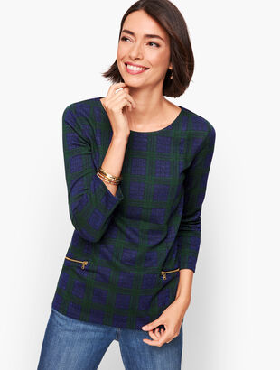 Zip Pocket Jacquard Top - Black Watch Plaid