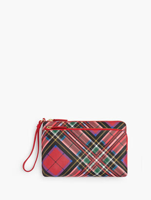 Tartan Plaid Zip Top Wristlet