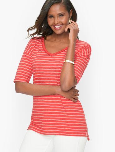 Elbow Sleeve V-Neck Tee - Stripe