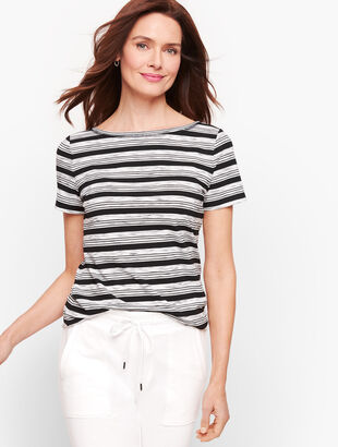 Twist Back Jersey Tee - Stripe