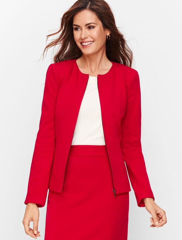 Italian Luxe Knit Zip-Front Jacket - Solid