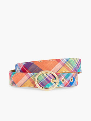 Cotton Madras Belt - Orange Multi
