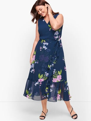 Georgette Painterly Floral Wrap Dress