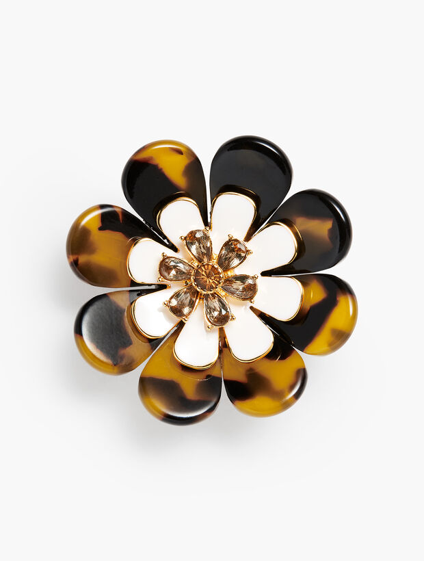 Layered Tortoise Flower Brooch
