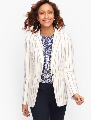 Classic Linen Blazer - Stripe