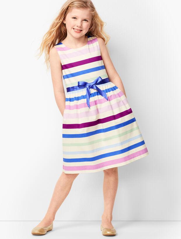 Girls Sateen-Stripe Fit & Flare Dress