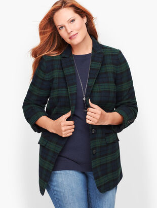 Black Watch Plaid Long Blazer