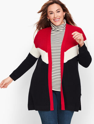 Chevron Colorblock Open Sweater