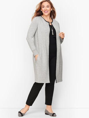 Tipped Merino Blend Sweater Jacket