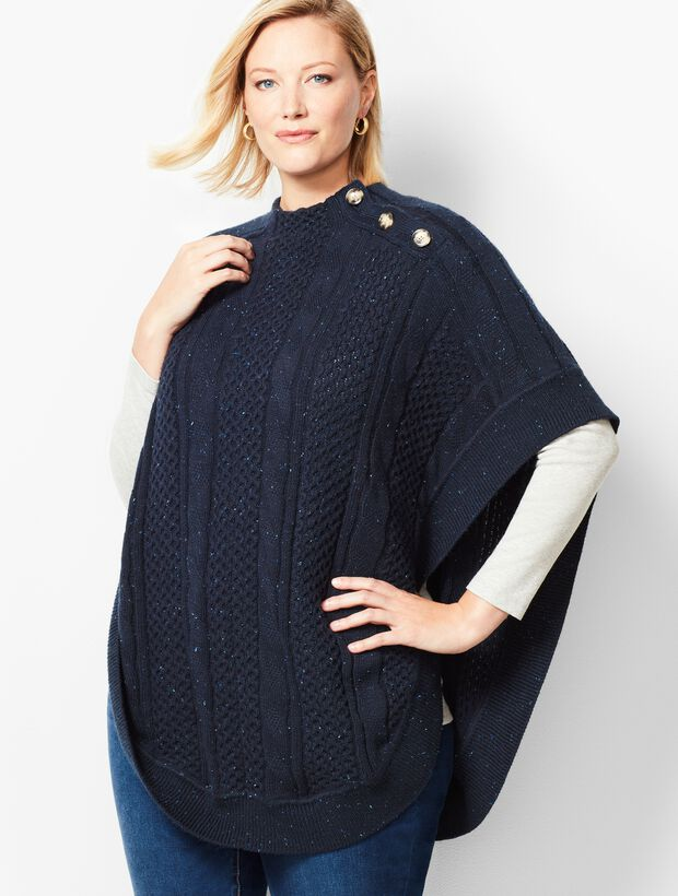 Plus Size Funnel-Neck Poncho