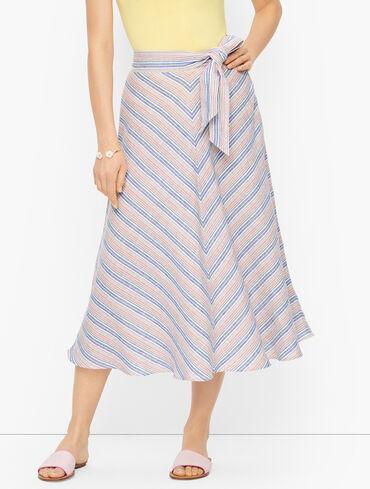 Linen Blend Stripe Skirt
