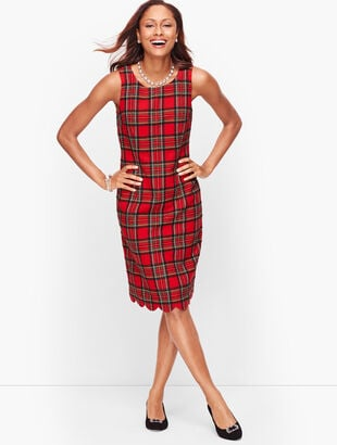 Plaid Shimmer Scallop Hem Dress