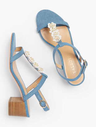 Mimi Flower-Embellished Block Heel Sandals - Denim