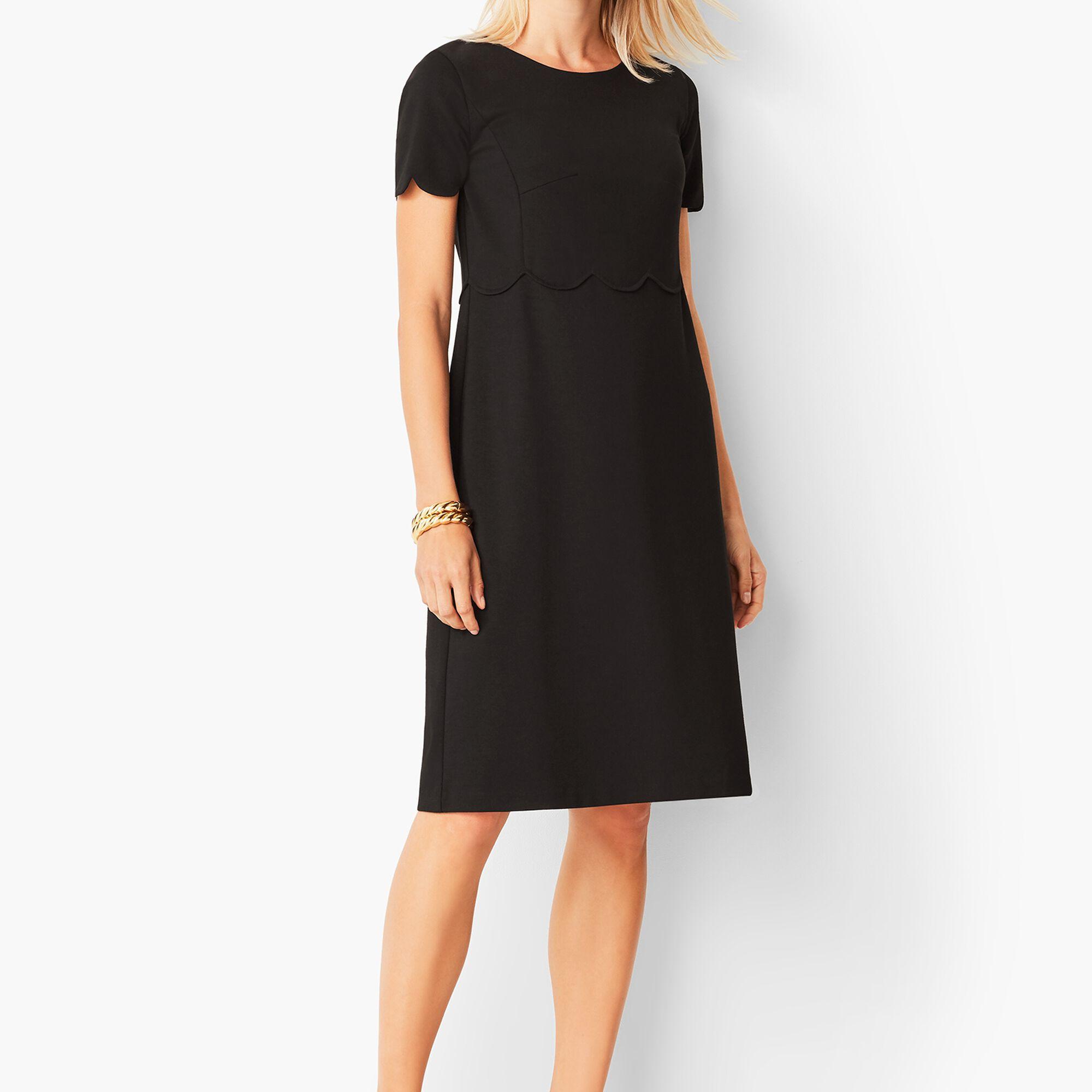 47dd7a2ffd41 Refined Scallop-Sleeve Ponte Dress - Black Opens a New Window.