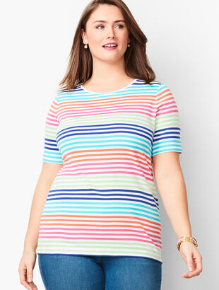 Cotton Crewneck Tee - Lively Stripe