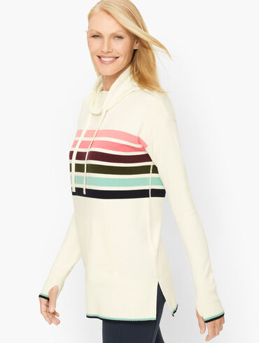 Cowlneck Stripe Tunic Sweater