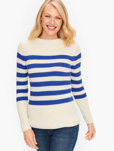 Shaker Stitch Sweater -  Stripe