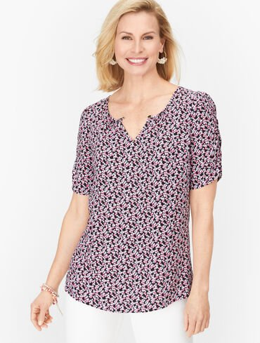 Playful Ditsy Floral Ruched Sleeve Top
