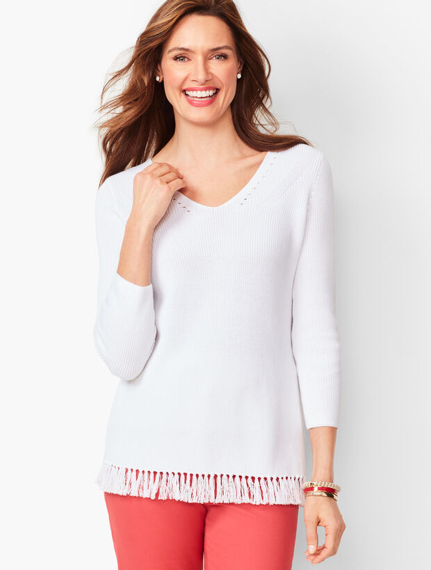 Fringe-Hem Sweater