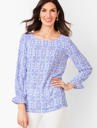Feminine Sleeve Top - Tile Print