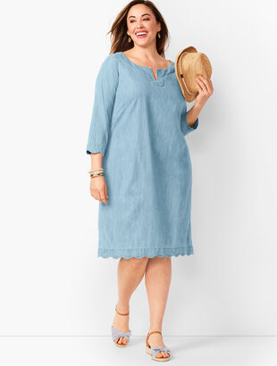 Scallop-Trim Denim Shift Dress