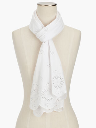 Embroidered Eyelet Scarf