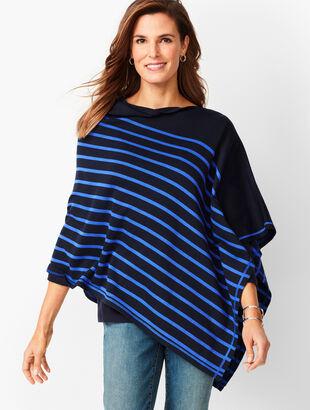 Stripe Asymmetrical Poncho