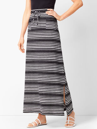 Patch-Pocket Stripe Maxi Skirt