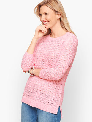 Textured Linen Blend Sweater - Marled