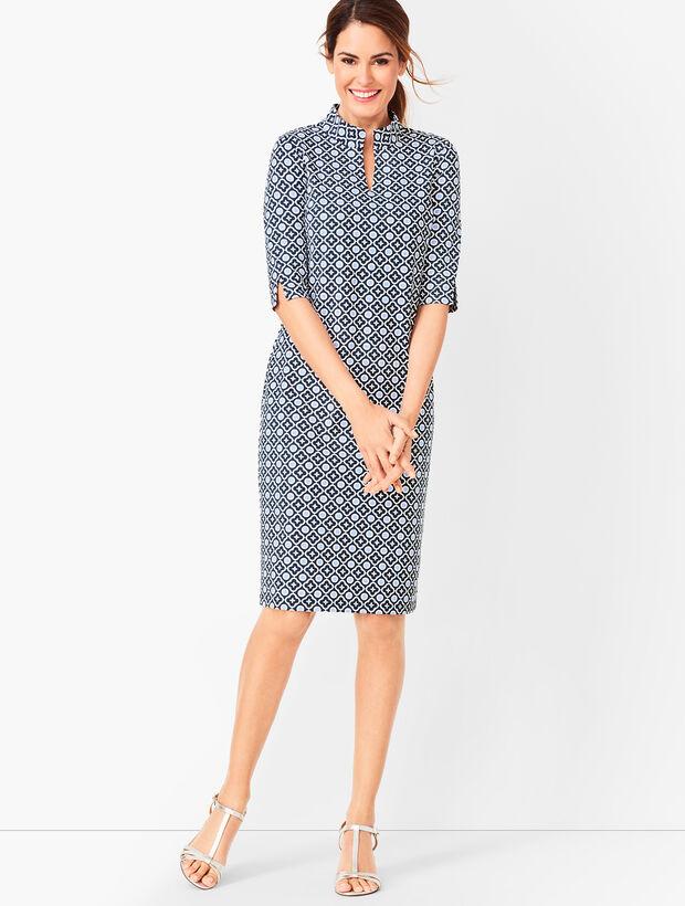 Jersey Tile-Print Shift Dress