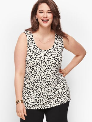 Knit Jersey Double Scoop Shell - Floral