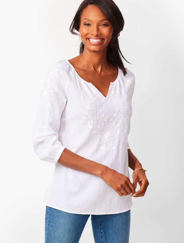 Embroidered Gauze Popover
