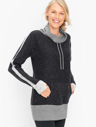 Colorblock Tweed Cowlneck Sweater