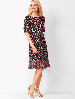 Floral Jewel-Neck Shift Dress